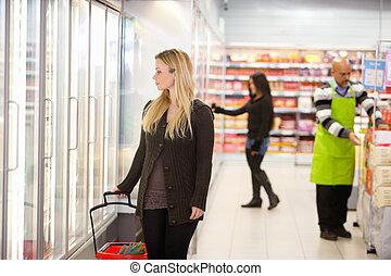 supermarkt, grocery slaan op