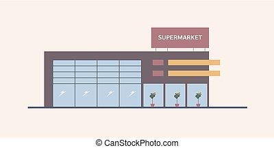supermarkt, het winkelen wandelgalerij, of, groot, doosje, winkel, built in, tijdgenoot, architecturaal, style., modern gebouw, met, groot, windows., commercieel, eigendom, voor, detailhandel, of, echte, estate., plat, vector, illustration.
