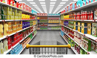 supermarkt, interieur, met, planken, volle, van, gevarieerd,...