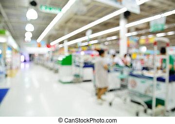 supermarkt, winkel, verdoezelen, achtergrond, toonbank, met, klant