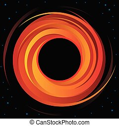 Sharp and clear vector illustration of a super massive black hole in deep space with bold event horizon and distant stars