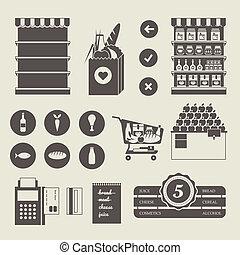 supermercado, ícones