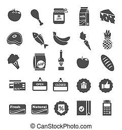 supermercado, alimento, selección, iconos, conjunto