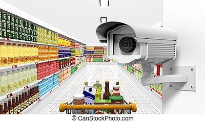 supermercado, câmera vigilância, fundo, interior, segurança