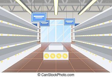 supermercado, com, vazio, prateleiras, vetorial, ilustração