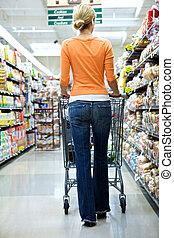 supermercado, comprador