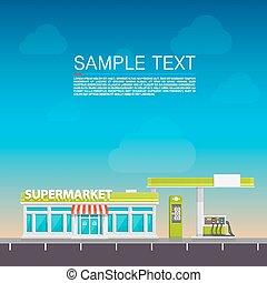 supermercado, ligado, a, à margem estrada
