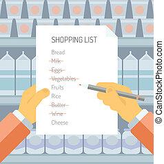 supermercado, lista fazendo compras, ilustração, apartamento