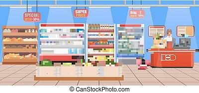 supermercado, loja, interior, com, goods.
