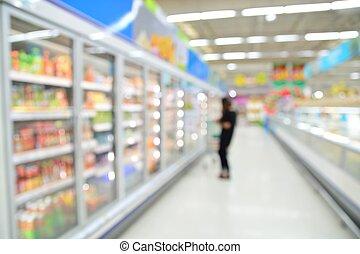 supermercado, mancha, plano de fondo, con, bokeh,...