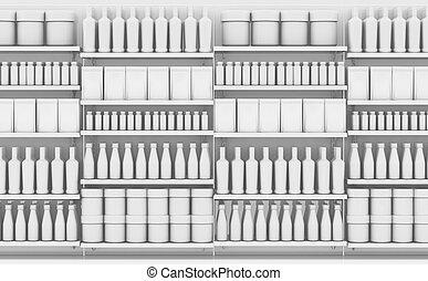 supermercado, prateleira, com, genérico, produtos