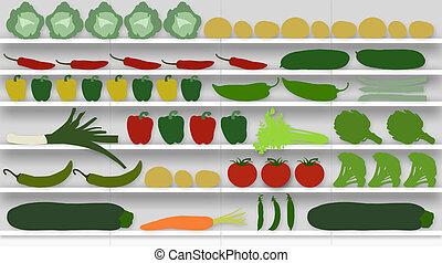 supermercado, prateleiras, cheio, de, legumes