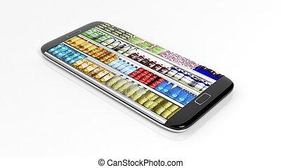supermercado, refrigerador, prateleiras, com, produtos, ligado, smartphone, tela, isolado, branco, experiência.