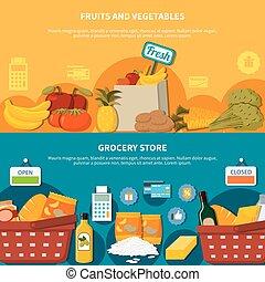 supermercato, bandiere, verdura, drogheria, frutte