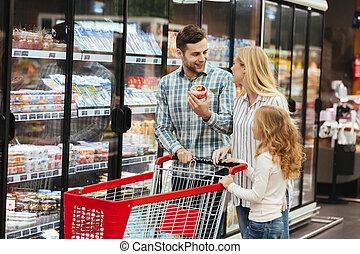 supermercato, carrello, famiglia, felice