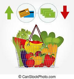 supermercato, cesto, con, verdura
