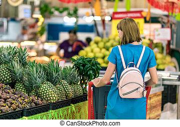 supermercato, donna, island., giovane, bali
