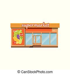 supermercato, facciata, negozio, con, bacheca, vettore, illustrazione