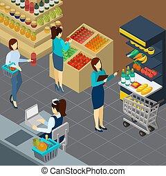 supermercato, isometrico, fondo