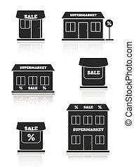 supermercato, set, negozio, negozio, icona