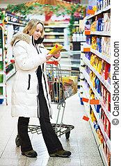 supermercato, shopping, donna, cibo, durante