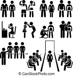 This is a set of people pictograms that represent supermodel and models during a fashion show.