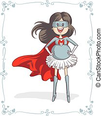 Supermom Character Vector Card - Vector cartoon of a...