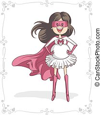 Vector cartoon of a pregnant super heroine. Mothers Day vector illustration