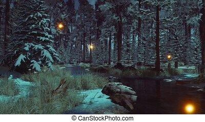 Supernatural firefly lights in winter fir forest 4K