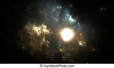 Supernova explosion in the center of the nebula