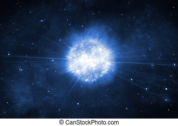 Supernova explosion, space background with stars