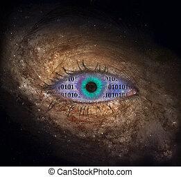 Supernova eye with binary code