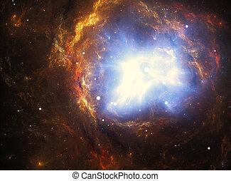 supernova, nébuleuse, explosion, coloré, créé