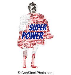 Superpower word cloud shape concept
