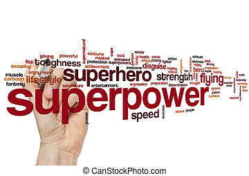Superpower concept word cloud background