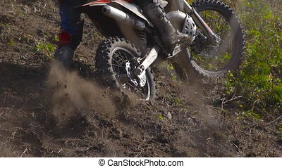 Superslowmotion shot of an enduro motorcycle race