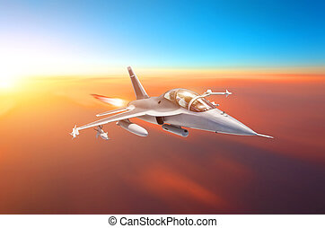 Supersonic fighter with arms flies in the sky at sunset with afterburner of engines.