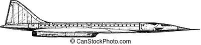 supersonisch, illustratie, vervoeren