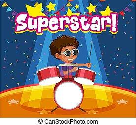 superstar, design, spielende , junge, schriftart, wort, schagzeug