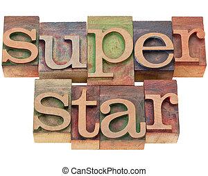 superstar, -, em, letterpress, tipo