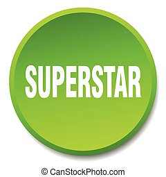 superstar green round flat isolated push button
