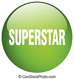 superstar green round gel isolated push button