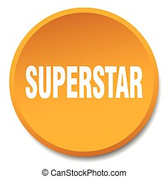 superstar orange round flat isolated push button