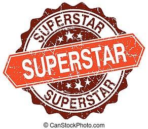 superstar orange round grunge stamp on white