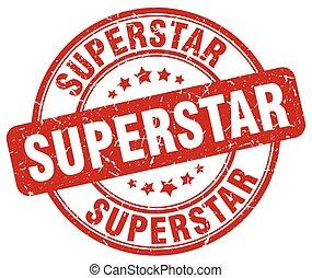 superstar red grunge round vintage rubber stamp