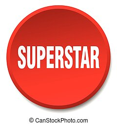 superstar red round flat isolated push button