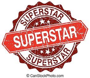 superstar red round grunge stamp on white
