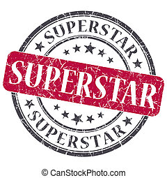 superstar red round grungy stamp isolated on white...