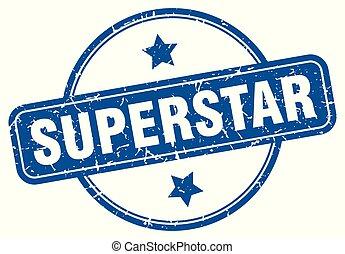 superstar round grunge isolated stamp