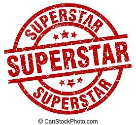 superstar round red grunge stamp